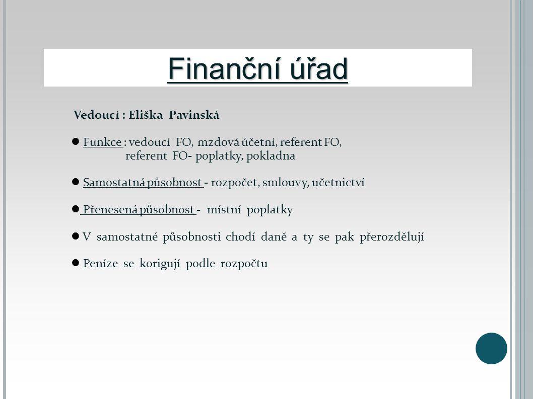Finanční úřad Vedoucí : Eliška Pavinská  Funkce : vedoucí FO, mzdová účetní, referent FO, referent FO- poplatky, pokladna  Samostatná působnost - ro