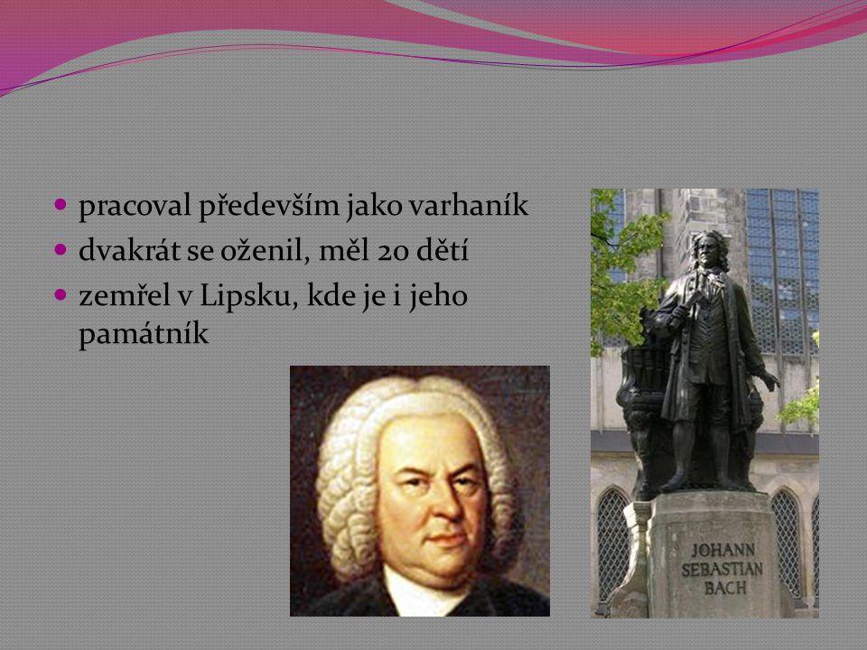  pracoval především jako varhaník  dvakrát se oženil, měl 20 dětí  zemřel v Lipsku, kde je i jeho památník