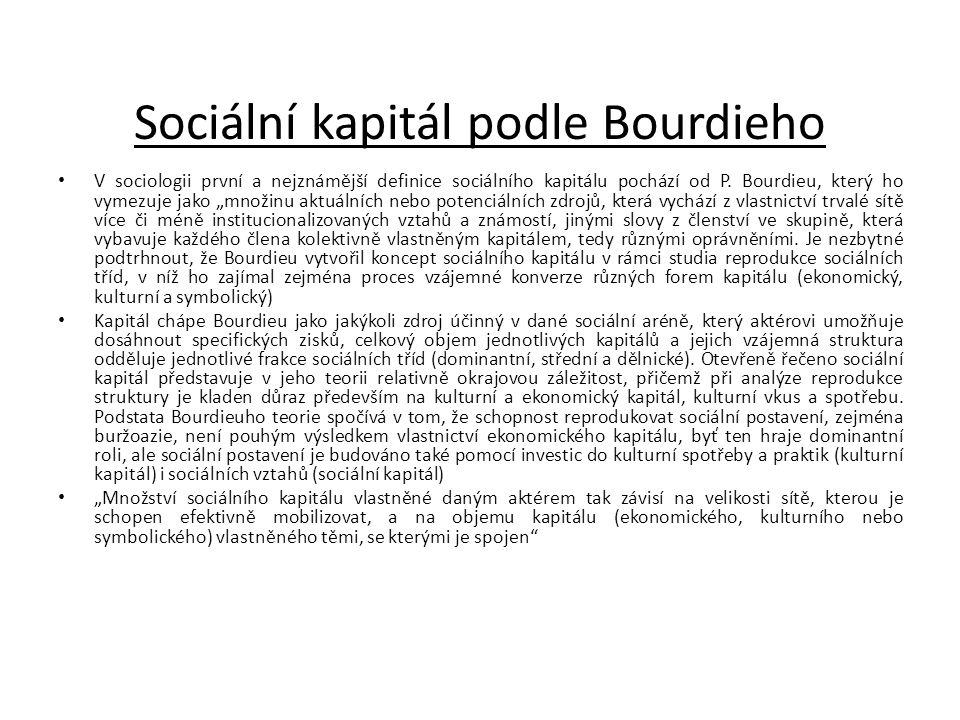 """Sociální kapitál podle Bourdieho • V sociologii první a nejznámější definice sociálního kapitálu pochází od P. Bourdieu, který ho vymezuje jako """"množi"""
