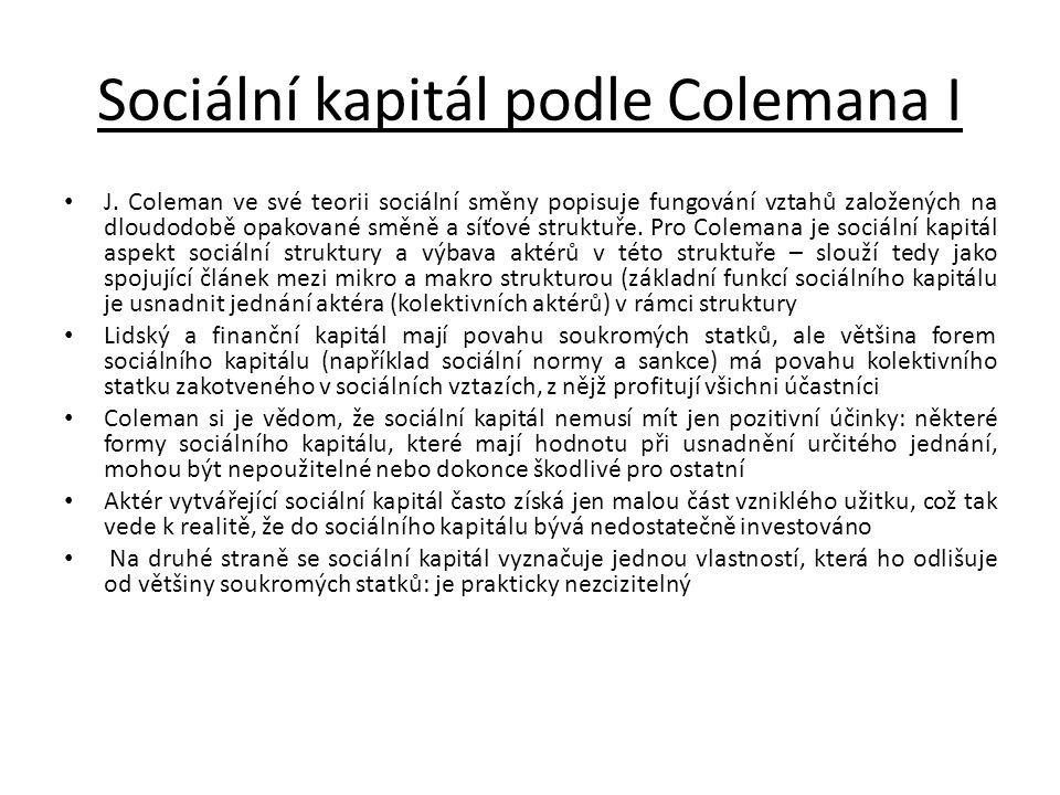 Sociální kapitál podle Colemana I • J. Coleman ve své teorii sociální směny popisuje fungování vztahů založených na dloudodobě opakované směně a síťov