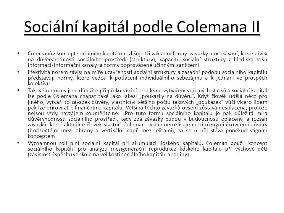Sociální kapitál podle Colemana II • Colemanův koncept sociálního kapitálu rozlišuje tři základní formy: závazky a očekávání, které závisí na důvěryho