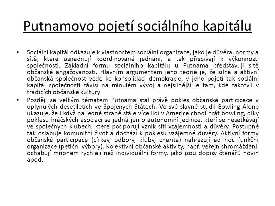 Putnamovo pojetí sociálního kapitálu • Sociální kapitál odkazuje k vlastnostem sociální organizace, jako je důvěra, normy a sítě, které usnadňují koor