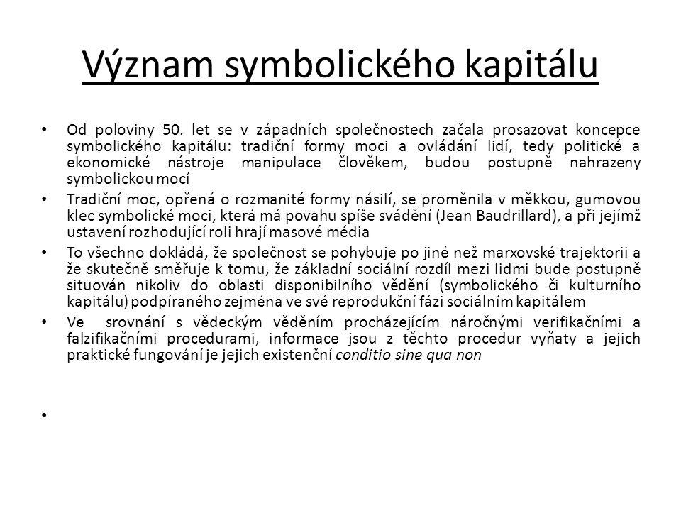 Význam symbolického kapitálu • Od poloviny 50. let se v západních společnostech začala prosazovat koncepce symbolického kapitálu: tradiční formy moci