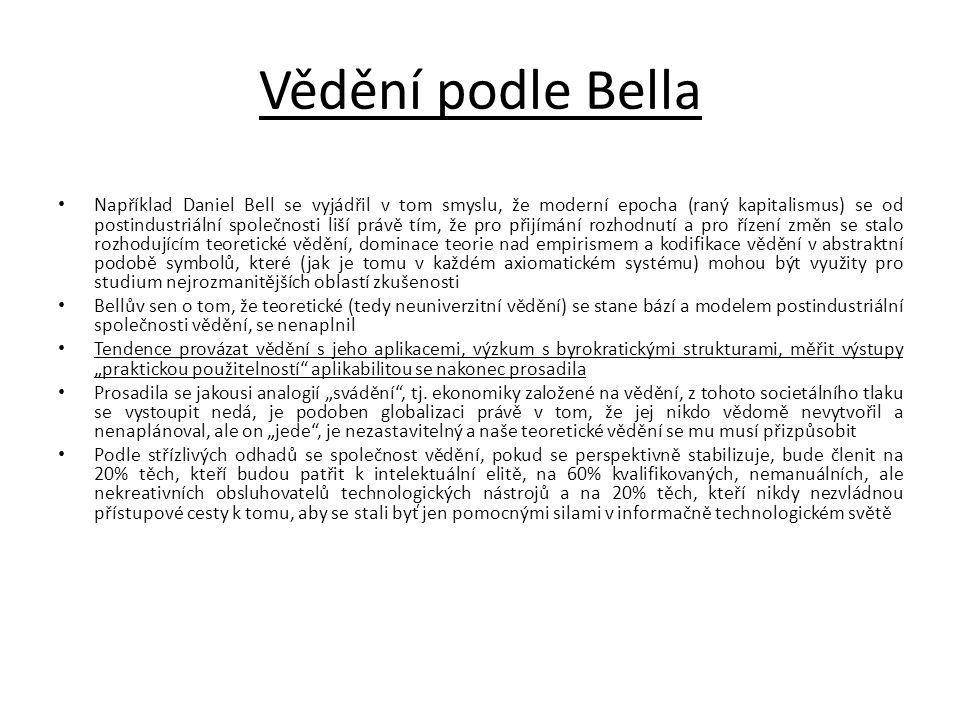 Vědění podle Bella • Například Daniel Bell se vyjádřil v tom smyslu, že moderní epocha (raný kapitalismus) se od postindustriální společnosti liší prá