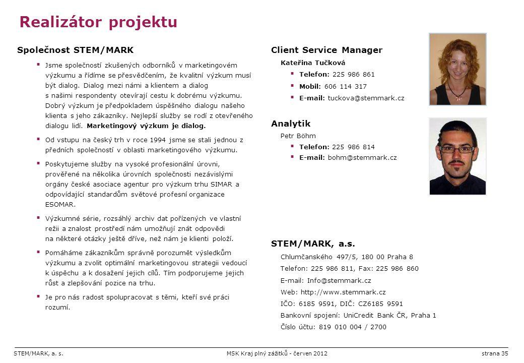 STEM/MARK, a. s.MSK Kraj plný zážitků - červen 2012strana 35 Realizátor projektu Společnost STEM/MARK  Jsme společností zkušených odborníků v marketi
