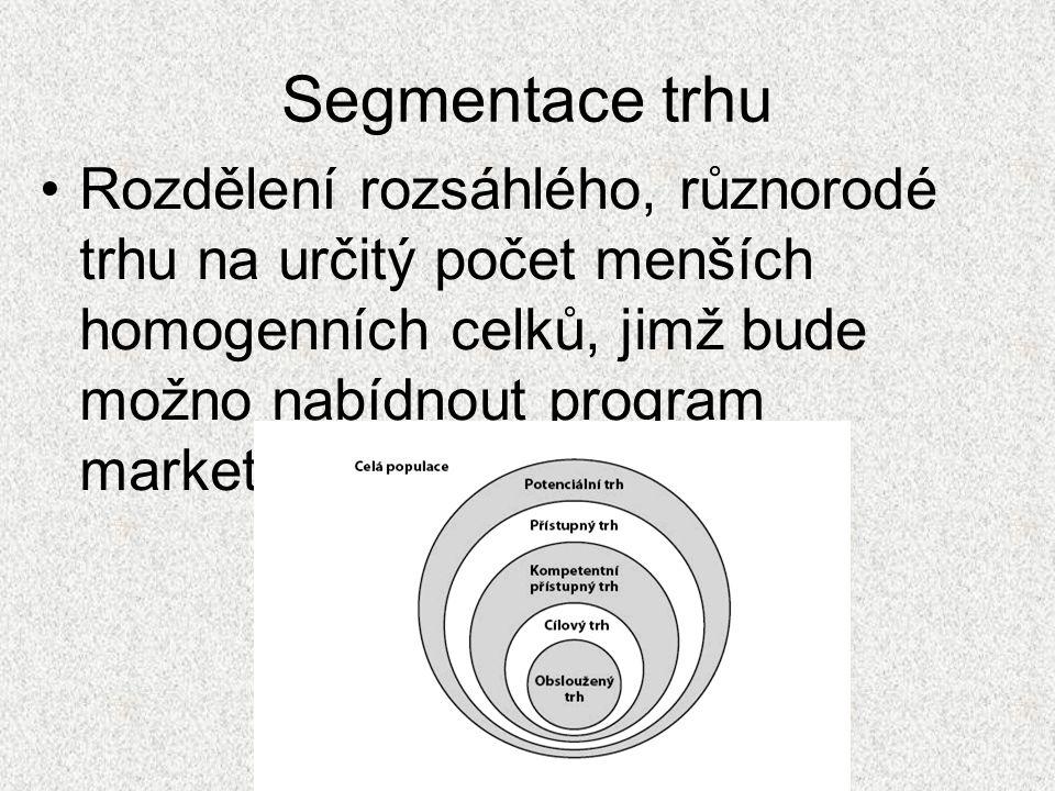 Výhody segmentace •Nástroj rozlišení potřeb spotřebitelů- (přizpůsobení výrobku zákazníkům) •Pomocník při vývoji nových výrobků •Účelnější vynaložení finančních prostředků firmy •Lepší uspokojení potřeb zákazníků •Efektivnější komunikace a distribuce •Získání konkurenční výhody •Snížení nebezpečí konkurenčních válek