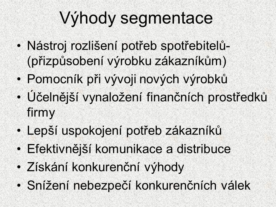 Kritéria segmentace •Geografické •Demografické •Sociálně ekonomické •Psychologické •Specifická- motiv koupě, kupní chování