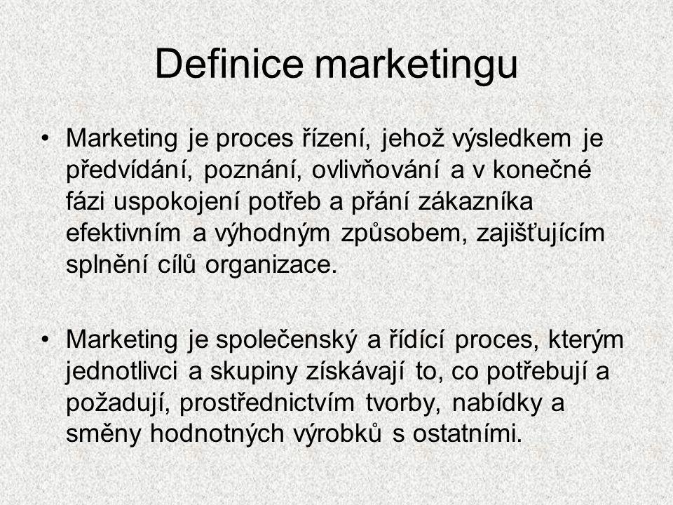 Marketing se odlišuje od prodeje Prodej zboží •Je orientován na prodej •Jednostranný proces •Krátkodobé cíle •Orientován na objem •Důraz na jednotlivé spotřebitele •Málo se přizpůsobuje prostředí Marketing •Orientován na zákazníka •Výstup určuje marketingový výzkum •Oboustranný proces •Dlouhodobé cíle •Klade důraz na skupiny zákazníků •Vhodně se přizpůsobuje prostředí