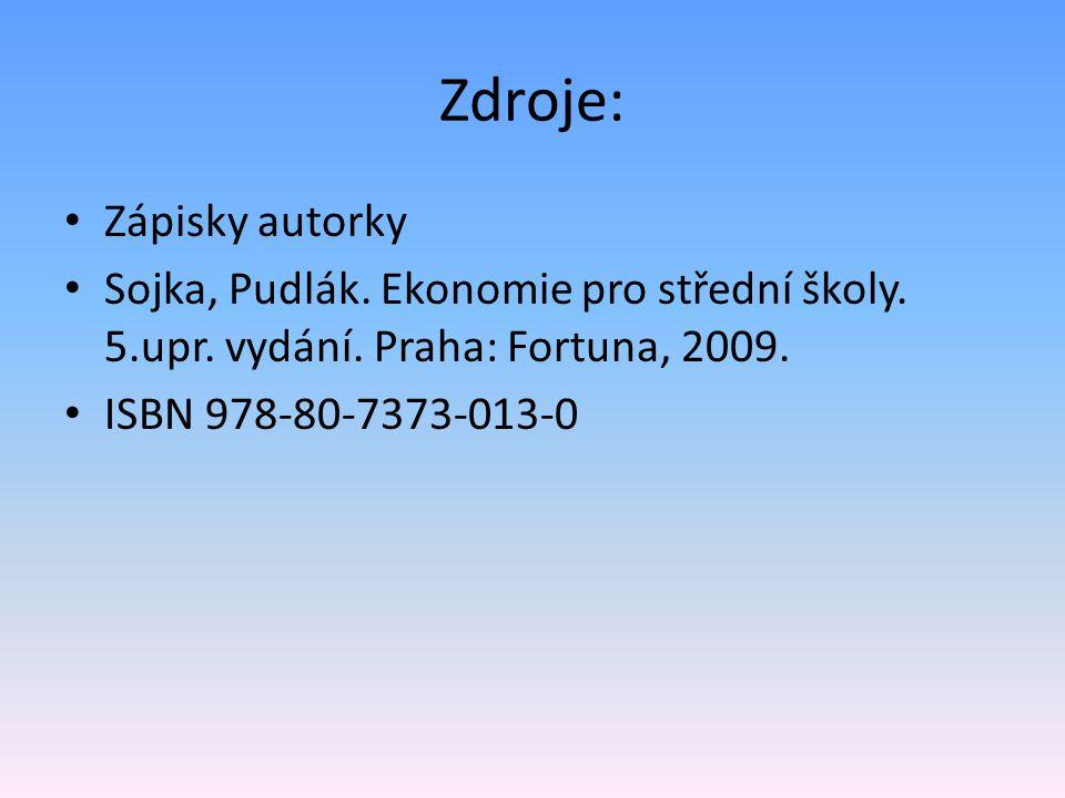 Zdroje: • Zápisky autorky • Sojka, Pudlák. Ekonomie pro střední školy.