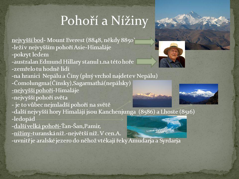 Pohoří a Nížiny nejvyšší bod- Mount Everest (8848, někdy 8850) -leží v nejvyšším pohoří Asie-Himaláje -pokryt ledem -australan Edmund Hillary stanul 1