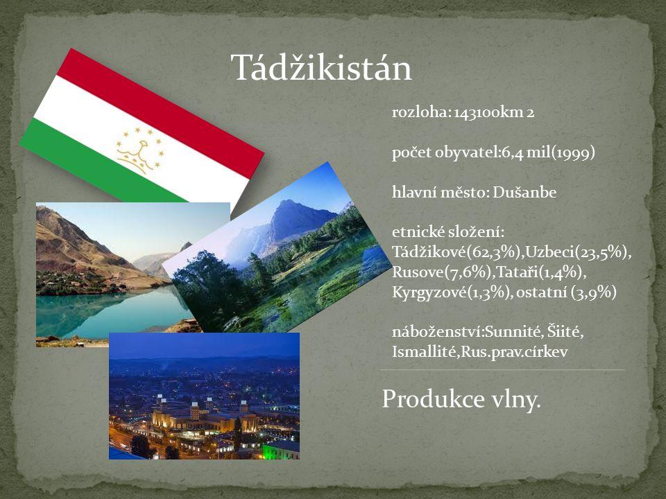 Tádžikistán rozloha: 143100km 2 počet obyvatel:6,4 mil(1999) hlavní město: Dušanbe etnické složení: Tádžikové(62,3%),Uzbeci(23,5%), Rusove(7,6%),Tatař