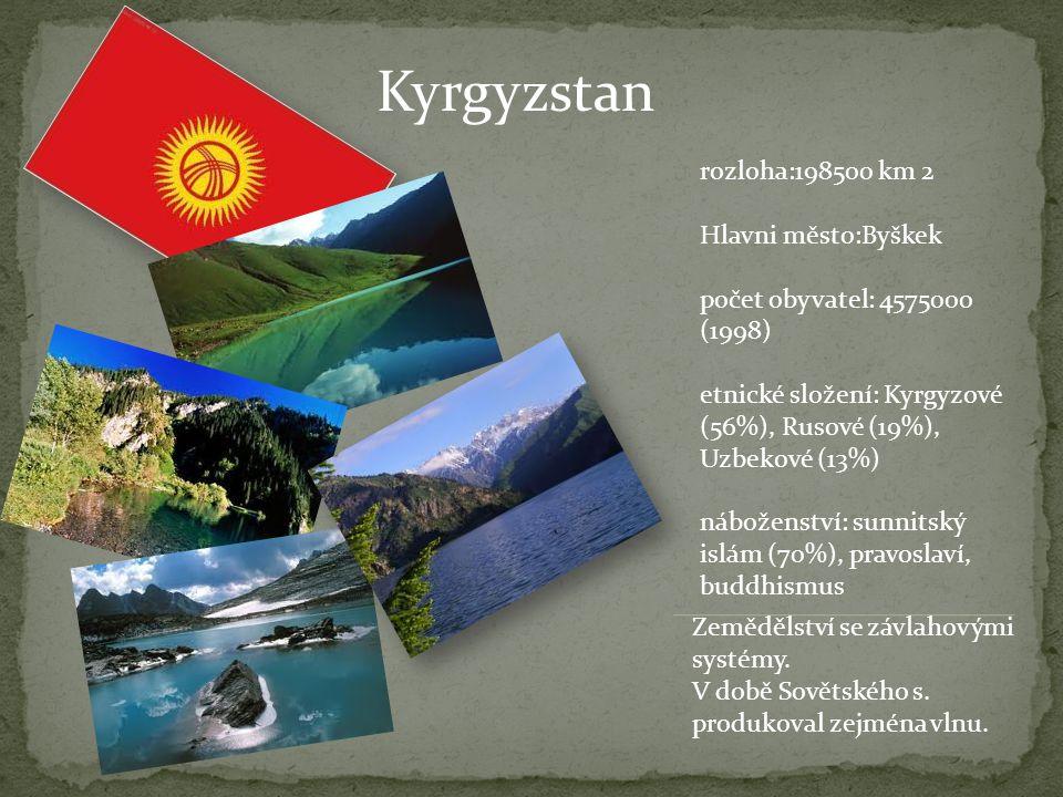 Kyrgyzstan rozloha:198500 km 2 Hlavni město:Byškek počet obyvatel: 4575000 (1998) etnické složení: Kyrgyzové (56%), Rusové (19%), Uzbekové (13%) nábož