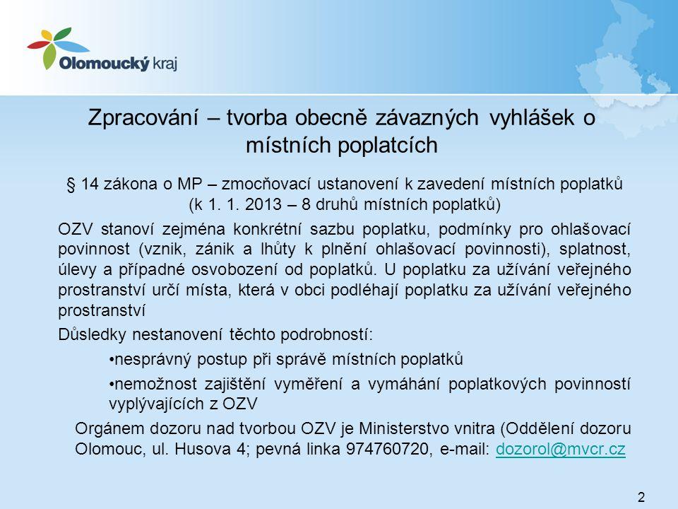 Zpracování – tvorba obecně závazných vyhlášek o místních poplatcích § 14 zákona o MP – zmocňovací ustanovení k zavedení místních poplatků (k 1. 1. 201