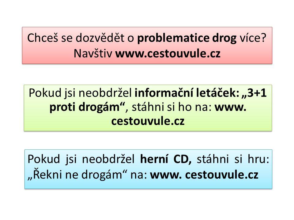 """Chceš se dozvědět o problematice drog více? Navštiv www.cestouvule.cz Pokud jsi neobdržel informační letáček: """"3+1 proti drogám"""", stáhni si ho na: www"""