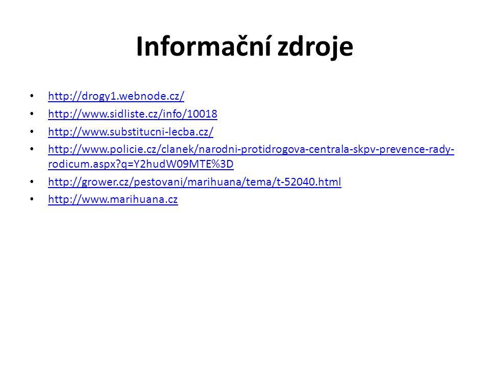 Informační zdroje • http://drogy1.webnode.cz/ http://drogy1.webnode.cz/ • http://www.sidliste.cz/info/10018 http://www.sidliste.cz/info/10018 • http:/