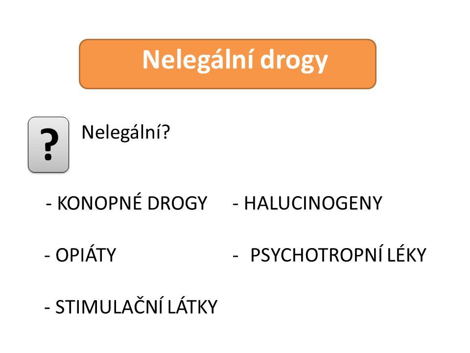 Nelegální drogy Nelegální? ? - KONOPNÉ DROGY - OPIÁTY - STIMULAČNÍ LÁTKY - HALUCINOGENY -PSYCHOTROPNÍ LÉKY
