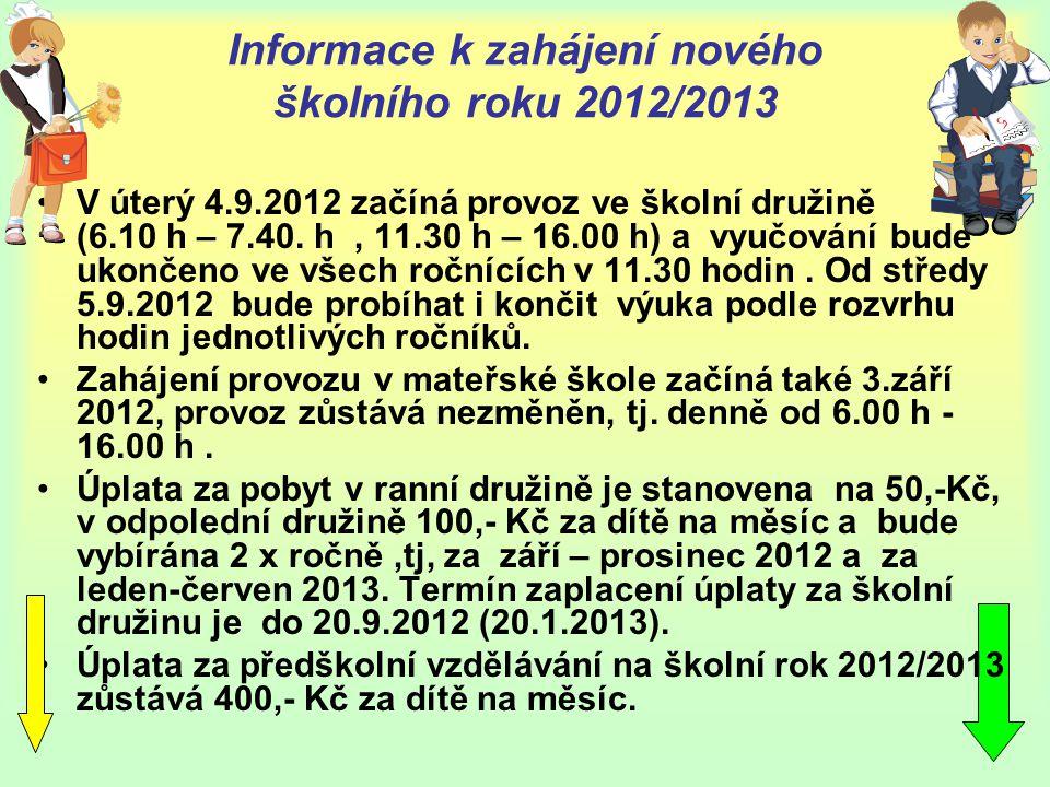 Informace k zahájení nového školního roku 2012/2013 •V úterý 4.9.2012 začíná provoz ve školní družině (6.10 h – 7.40. h, 11.30 h – 16.00 h) a vyučován