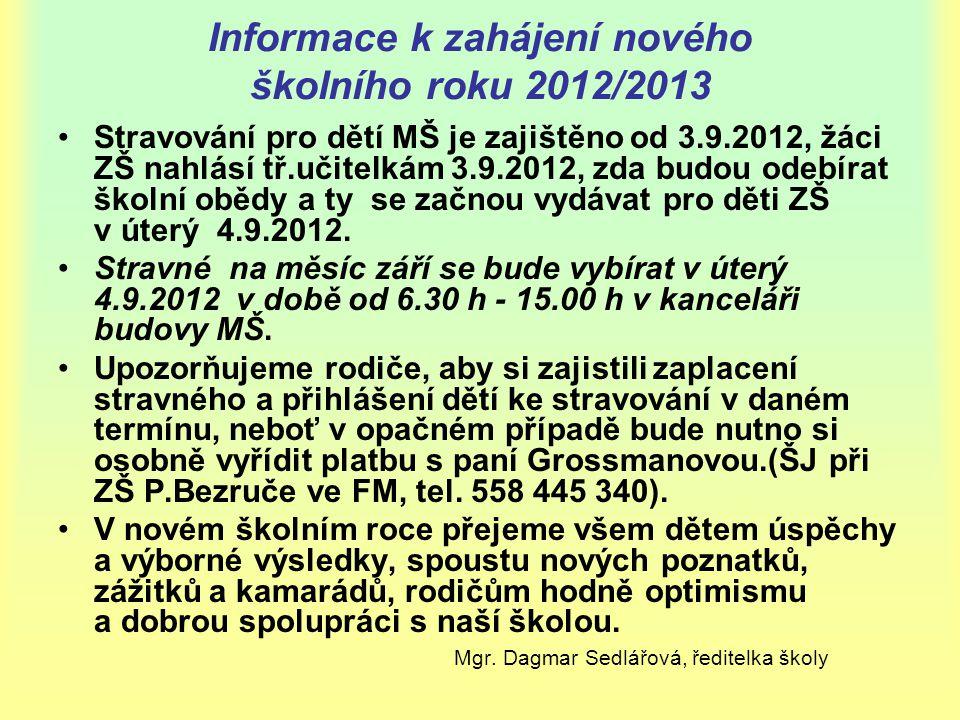 Informace k zahájení nového školního roku 2012/2013 •Stravování pro dětí MŠ je zajištěno od 3.9.2012, žáci ZŠ nahlásí tř.učitelkám 3.9.2012, zda budou
