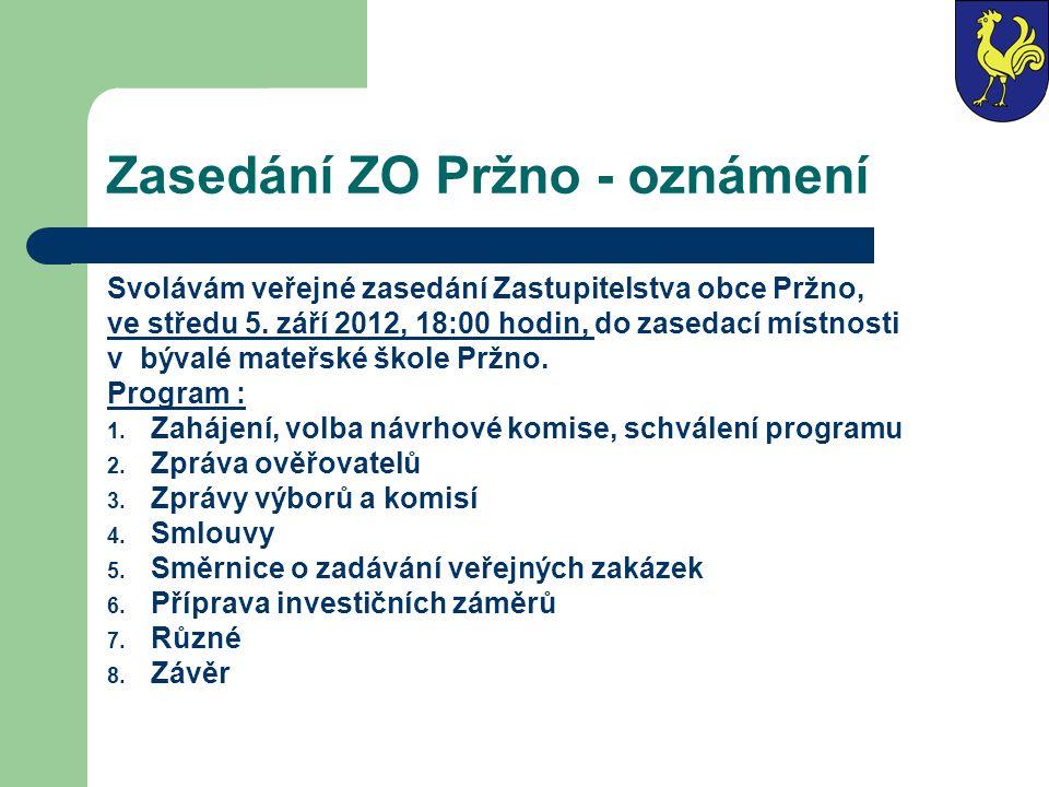 Zasedání ZO Pržno - oznámení Svolávám veřejné zasedání Zastupitelstva obce Pržno, ve středu 5. září 2012, 18:00 hodin, do zasedací místnosti v bývalé