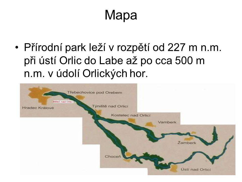 Mapa •Přírodní park leží v rozpětí od 227 m n.m.při ústí Orlic do Labe až po cca 500 m n.m.