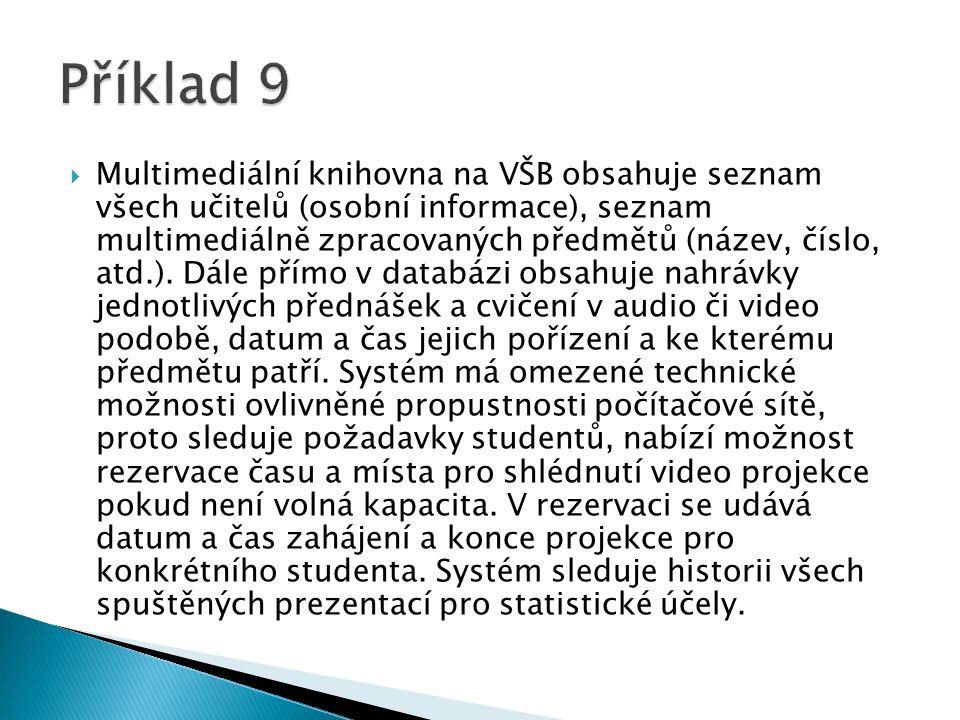  Multimediální knihovna na VŠB obsahuje seznam všech učitelů (osobní informace), seznam multimediálně zpracovaných předmětů (název, číslo, atd.). Dál