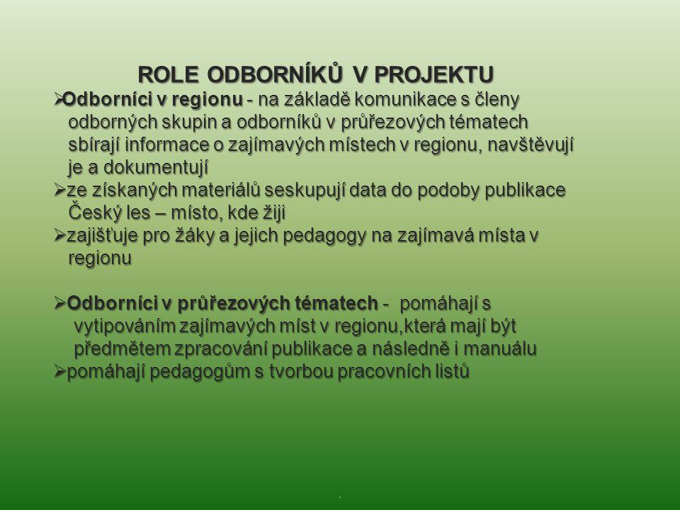 . ROLE ODBORNÍKŮ V PROJEKTU  Odborníci v regionu - na základě komunikace s členy odborných skupin a odborníků v průřezových tématech odborných skupin