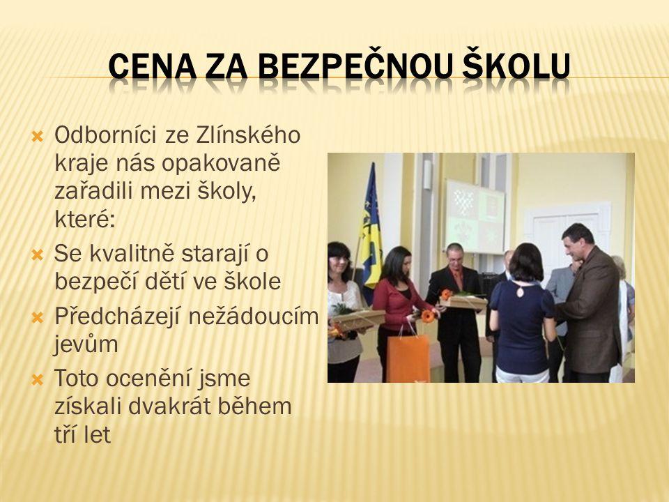  Odborníci ze Zlínského kraje nás opakovaně zařadili mezi školy, které:  Se kvalitně starají o bezpečí dětí ve škole  Předcházejí nežádoucím jevům