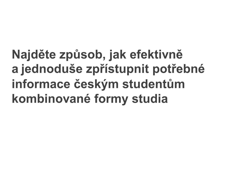 Najděte způsob, jak efektivně a jednoduše zpřístupnit potřebné informace českým studentům kombinované formy studia