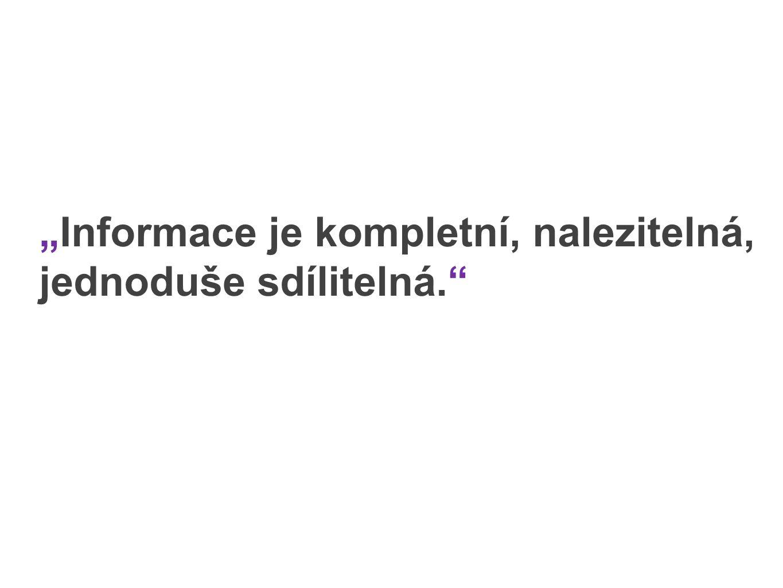 """""""Informace je kompletní, nalezitelná, jednoduše sdílitelná."""""""