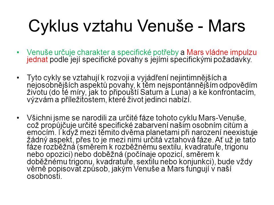 Cyklus vztahu Venuše - Mars •Venuše určuje charakter a specifické potřeby a Mars vládne impulzu jednat podle její specifické povahy s jejími specifickými požadavky.