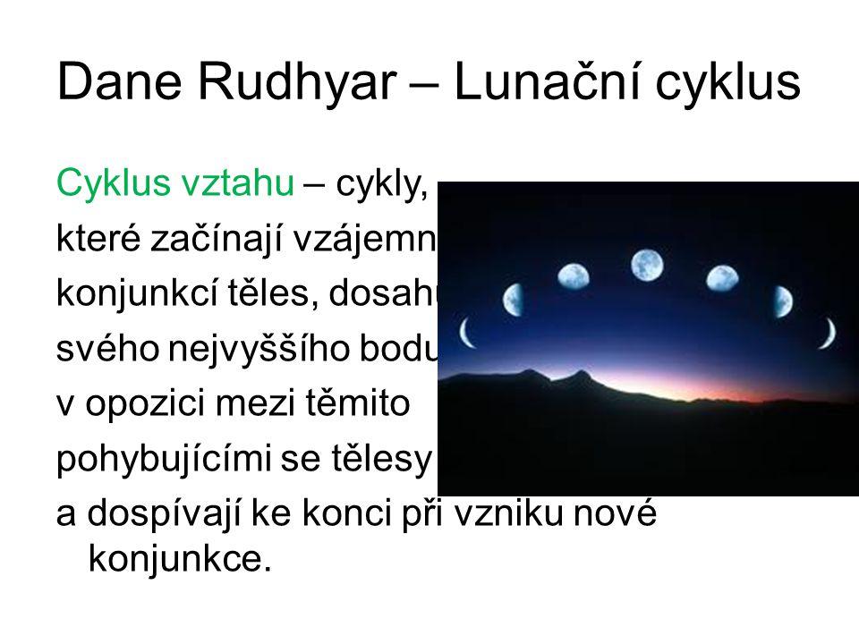 Dane Rudhyar – Lunační cyklus Cyklus vztahu – cykly, které začínají vzájemnou konjunkcí těles, dosahují svého nejvyššího bodu v opozici mezi těmito pohybujícími se tělesy a dospívají ke konci při vzniku nové konjunkce.