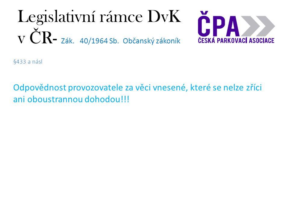 Legislativní rámce DvK v Č R- Zák. 40/1964 Sb. Občanský zákoník §433 a násl Odpovědnost provozovatele za věci vnesené, které se nelze zříci ani oboust