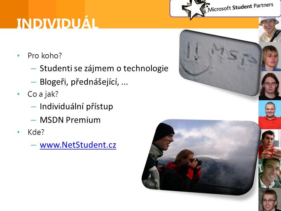 INDIVIDUÁL • Pro koho. – Studenti se zájmem o technologie – Blogeři, přednášející,...