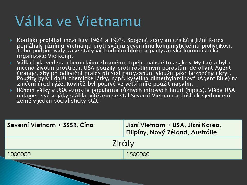  Konflikt probíhal mezi lety 1964 a 1975. Spojené státy americké a Jižní Korea pomáhaly jižnímu Vietnamu proti svému severnímu komunistickému protivn