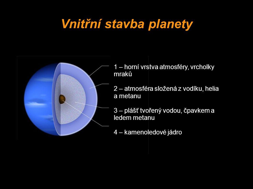 1 – horní vrstva atmosféry, vrcholky mraků 2 – atmosféra složená z vodíku, helia a metanu 3 – plášť tvořený vodou, čpavkem a ledem metanu 4 – kamenole