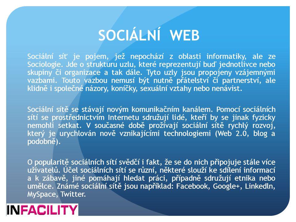 SOCIÁLNÍ WEB Sociální síť je pojem, jež nepochází z oblasti informatiky, ale ze Sociologie. Jde o strukturu uzlu, které reprezentují buď jednotlivce n