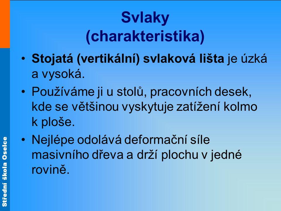 Střední škola Oselce Svlaky (charakteristika) •Stojatá (vertikální) svlaková lišta je úzká a vysoká. •Používáme ji u stolů, pracovních desek, kde se v