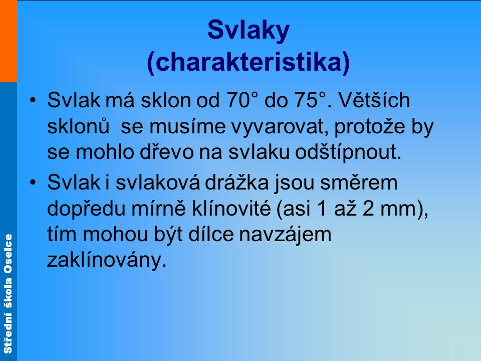 Střední škola Oselce Svlaky (charakteristika) •Svlak má sklon od 70° do 75°. Větších sklonů se musíme vyvarovat, protože by se mohlo dřevo na svlaku o