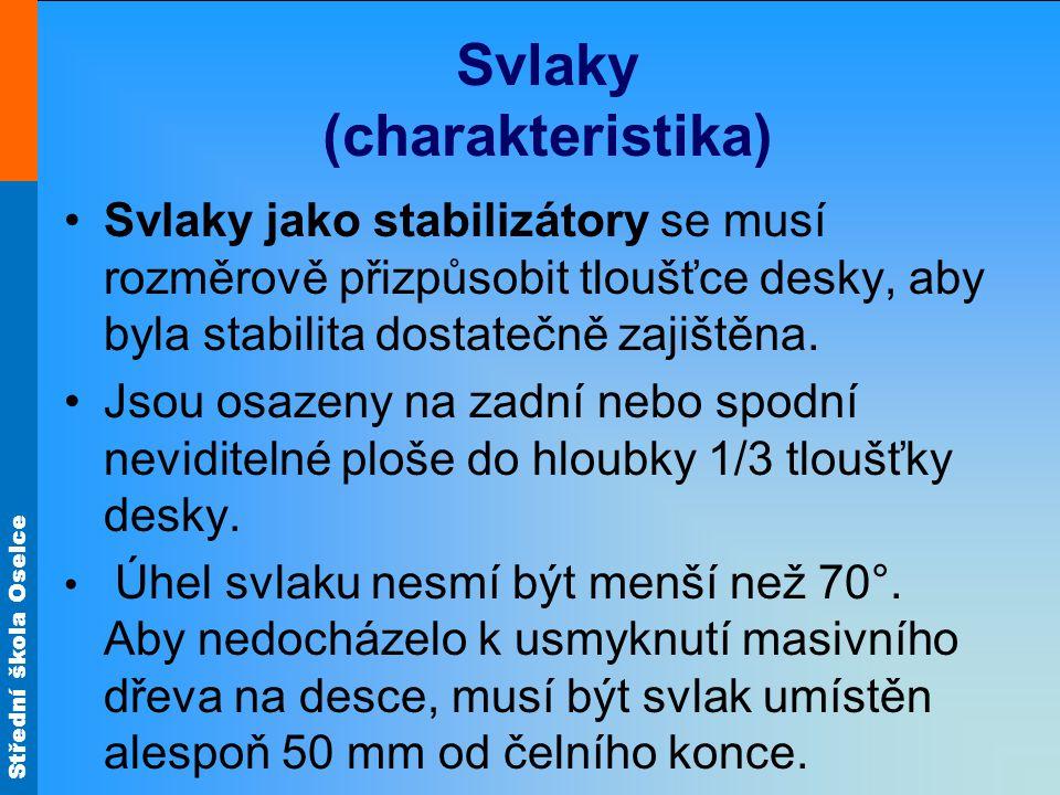 Střední škola Oselce Svlaky (charakteristika) •Svlaky jako stabilizátory se musí rozměrově přizpůsobit tloušťce desky, aby byla stabilita dostatečně z