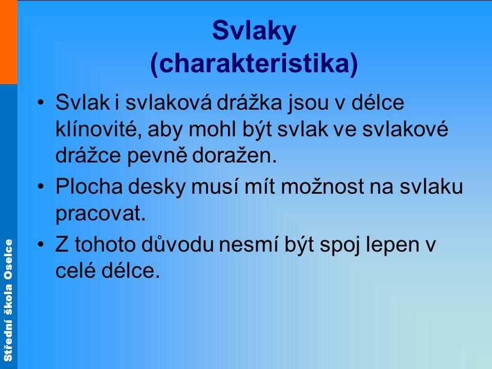 Střední škola Oselce Svlaky (charakteristika) •Svlak i svlaková drážka jsou v délce klínovité, aby mohl být svlak ve svlakové drážce pevně doražen. •P