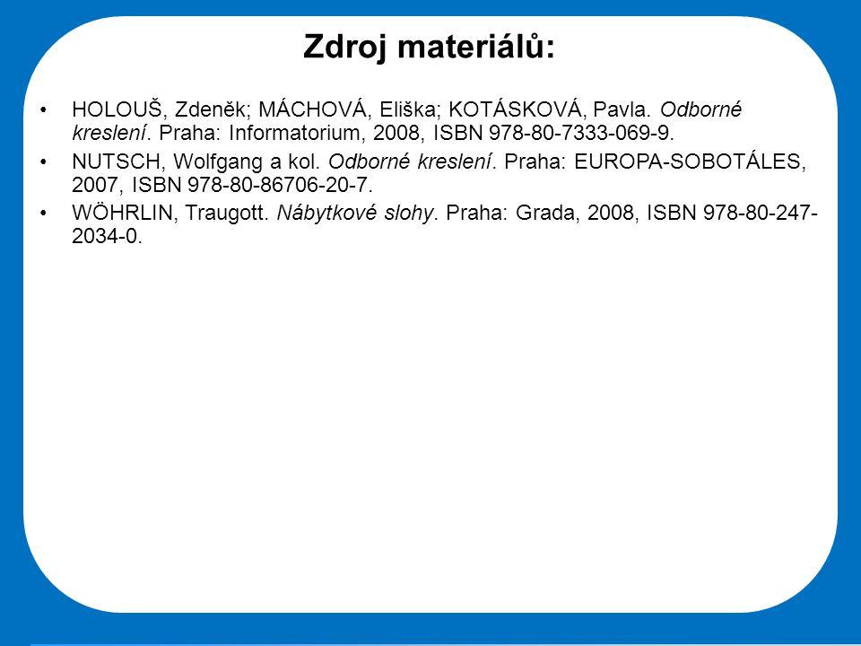 Střední škola Oselce Zdroj materiálů: •HOLOUŠ, Zdeněk; MÁCHOVÁ, Eliška; KOTÁSKOVÁ, Pavla. Odborné kreslení. Praha: Informatorium, 2008, ISBN 978-80-73