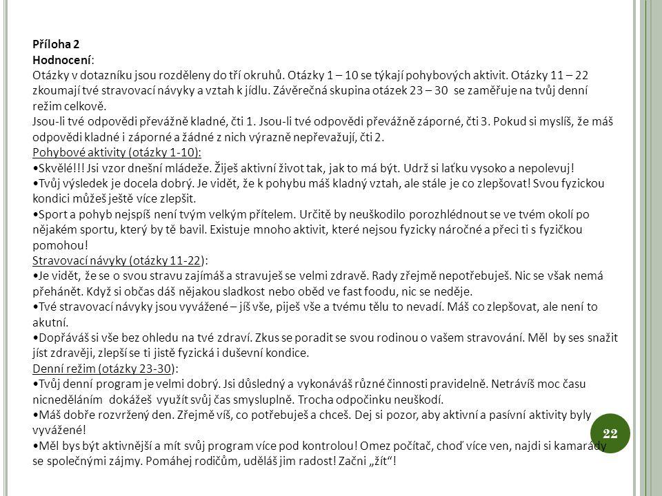 Příloha 2 Hodnocení: Otázky v dotazníku jsou rozděleny do tří okruhů. Otázky 1 – 10 se týkají pohybových aktivit. Otázky 11 – 22 zkoumají tvé stravova