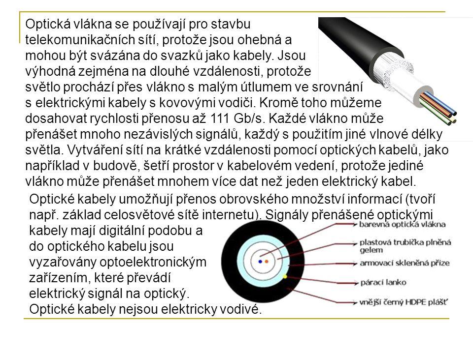 Optická vlákna se používají pro stavbu telekomunikačních sítí, protože jsou ohebná a mohou být svázána do svazků jako kabely. Jsou výhodná zejména na