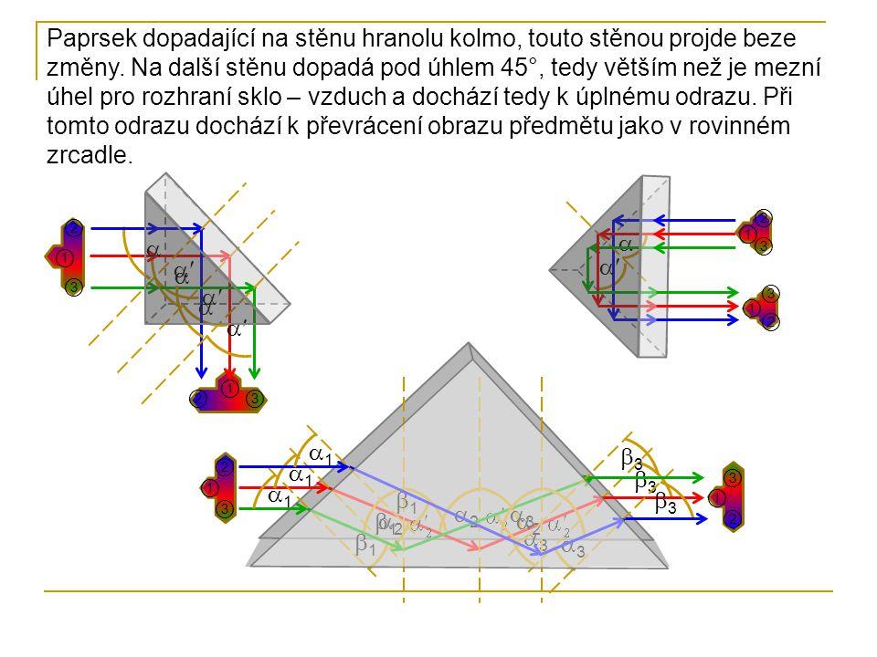 ②  Paprsek dopadající na stěnu hranolu kolmo, touto stěnou projde beze změny. Na další stěnu dopadá pod úhlem 45°, tedy větším než je mezní úhel pro