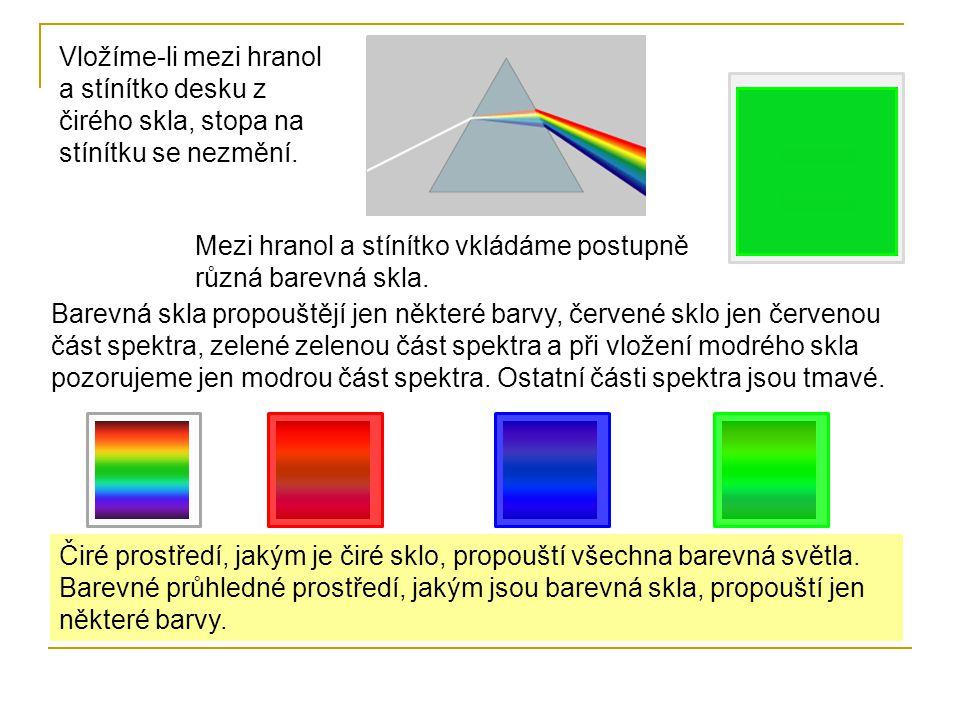 Vložíme-li mezi hranol a stínítko desku z čirého skla, stopa na stínítku se nezmění. Mezi hranol a stínítko vkládáme postupně různá barevná skla. Bare