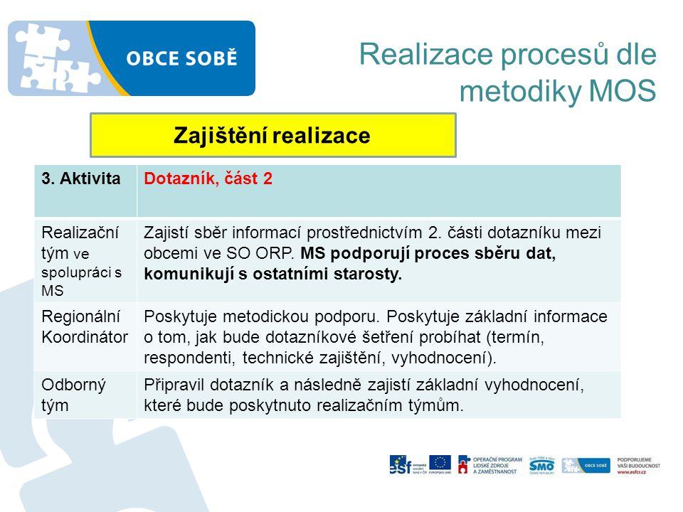 Realizace procesů dle metodiky MOS Zajištění realizace 3. AktivitaDotazník, část 2 Realizační tým ve spolupráci s MS Zajistí sběr informací prostředni