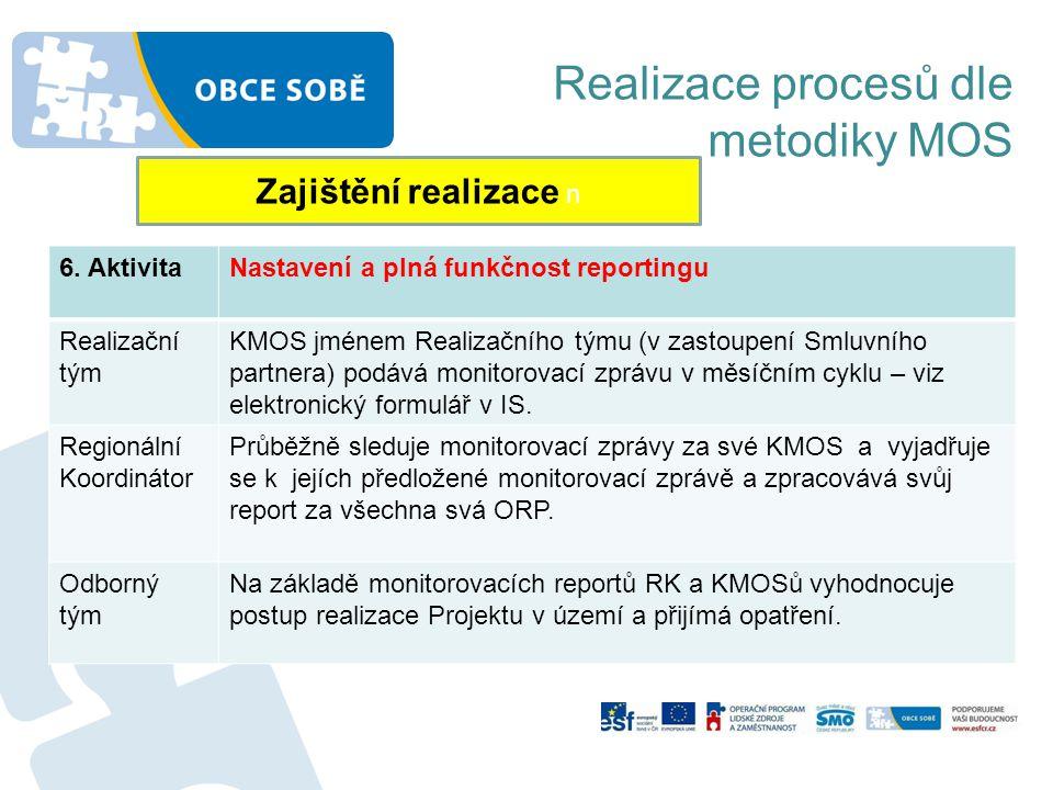 Realizace procesů dle metodiky MOS Zajištění realizace n 6. AktivitaNastavení a plná funkčnost reportingu Realizační tým KMOS jménem Realizačního týmu