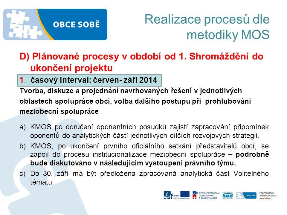 Realizace procesů dle metodiky MOS D) Plánované procesy v období od 1. Shromáždění do ukončení projektu 1. časový interval: červen- září 2014 Tvorba,