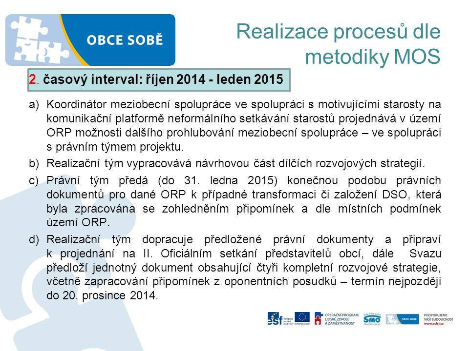 Realizace procesů dle metodiky MOS 2. časový interval: říjen 2014 - leden 2015 a)Koordinátor meziobecní spolupráce ve spolupráci s motivujícími staros