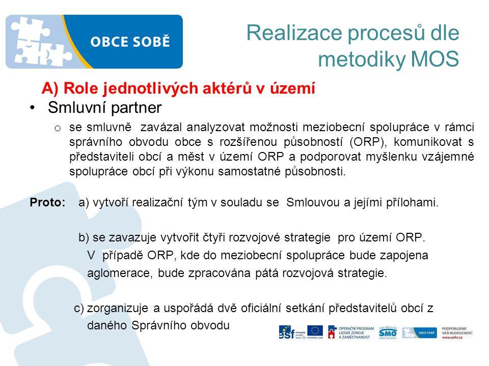 Realizace procesů dle metodiky MOS •Koordinátor meziobecní spolupráce (KMOS) a)Náplní jeho práce je zejména komunikace se zástupci dotčených obcí a partnery v území ORP.